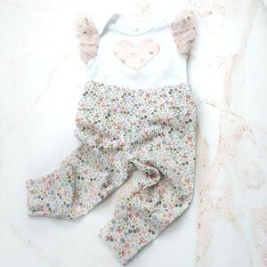 Ruffle Heart Onesie & Floral Sparkle Leggings 9M